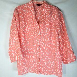 Carole Little Linen 3/4 Sleeve Blouse Size 2X